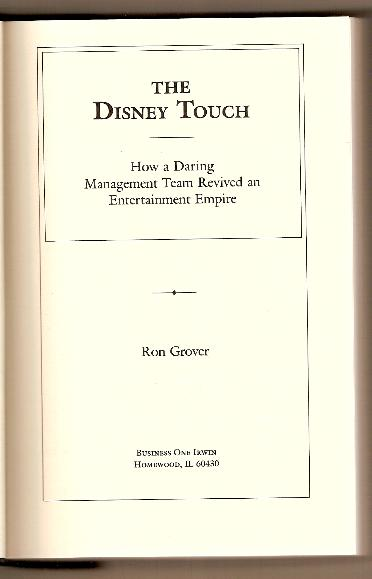 THE DISNEY TOUCH by Ron Grover